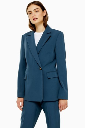 Topshop Womens Blue Double Breasted Lined Blazer - Petrol