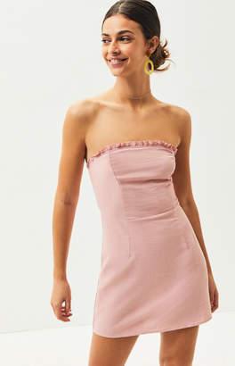 KENDALL + KYLIE Lottie Moss Strapless Ruffle Mini Dress
