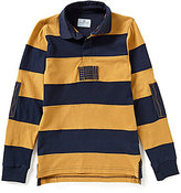 Class Club Big Boys 8-20 Horizontal-Striped Rugby Long-Sleeve Elbow-Patch Shirt