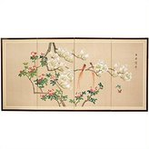 Oriental Furniture 36 by 72-Inch Love Birds Japanese Style Art Screen Painting