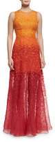 Jenny Packham Sleeveless Degrade Appliqué Gown, Henna