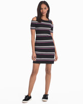 White House Black Market Cold-Shoulder Striped Knit Dress