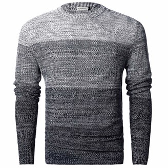 Chain Stitch Men's Long Sleeve Striped Pullover Crew Neck Sweater Navy Gray Large