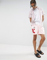 Asos x Lot Stock & Barrel Swim Shorts With Lobster Embroidery Design In Short Length