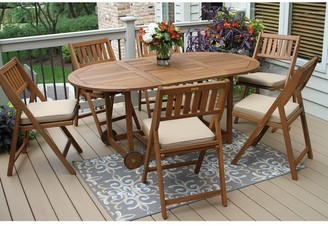 Outdoor Interiors Eilaf 7pc Eucalyptus Fold and Store Dining Set