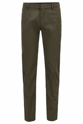 HUGO BOSS Mens Rogan4-1 Slim-fit Trousers in a Cotton Blend with Taped Pockets Dark Green