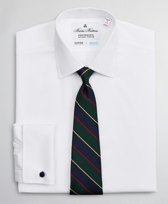 Brooks Brothers Madison Classic-Fit Dress Shirt, Performance Non-Iron with COOLMAX, Ainsley Collar Twill French Cuff