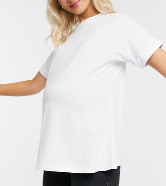 ASOS DESIGN Maternity relaxed t-shirt with roll sleeve in white