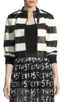 Alice + Olivia Nixon Mock-Neck Striped Leather Jacket