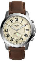 Fossil Q Ftw1118 Grant Chronograph Leather Strap Hybrid Smartwatch, Brown/cream