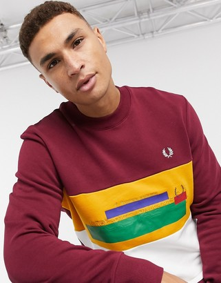 Fred Perry faded emboss colourblock sweat in burgundy