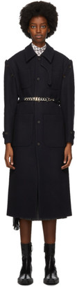 Rokh Navy Wool Removable Sleeve Coat