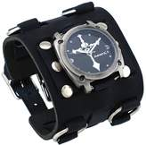Nemesis #WBK927K Men's Skull Crucifixion Black Super Wide Tri Clasp Leather Cuff Watch