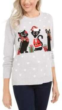 Karen Scott Petite Christmas Cats Sweater, Created For Macy's