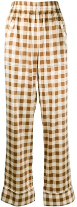 Ganni Wide-Leg Check Trousers