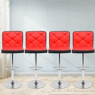 Orren Ellis Martel Faux Leather Adjustable Height Swivel Bar Stool Orren Ellis Color: Red and Black