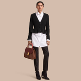 Burberry Knitted Wool Cashmere Blend Peplum Jacket