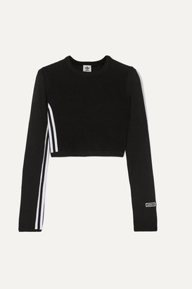 adidas Cropped Striped Ribbed Stretch-knit Top - Black