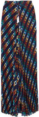 Emma Pake Elizabetta Pleated Printed Voile Wide-leg Pants