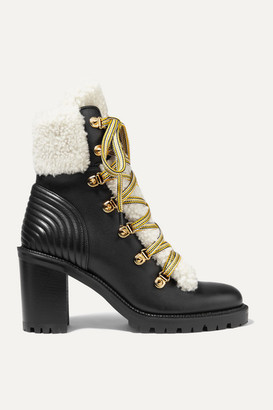 Christian Louboutin Yetita 70 Shearling-trimmed Leather Ankle Boots - Black