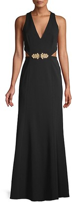 BCBGMAXAZRIA Sleeveless Cut-Out Gown