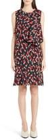 Marni Drape Front Floral Print Sleeveless Shift Dress