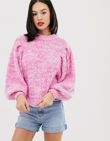 Asos Design DESIGN jumper in lofty yarn with volume sleeve