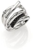 John Hardy Bamboo Black Sapphire & Sterling Silver Multi-Row Ring