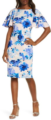 Eliza J Floral Scuba Crepe Sheath Dress