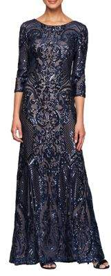Alex Evenings Sequin-Embellished Three-Quarter Sleeve Gown
