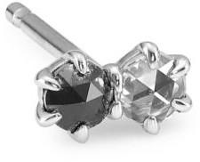 Ila Duo 14K White Gold, Black & White Diamond Single Earring
