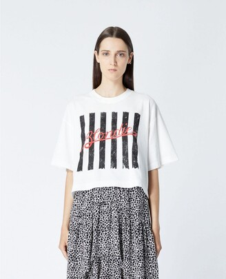 The Kooples Ecru cotton T-shirt with print & embroidery