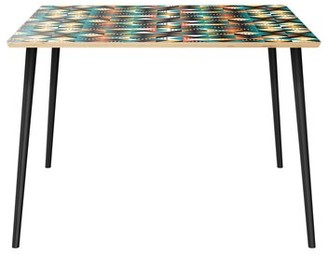 World Menagerie Reider Dining Table Table Top Color: Natural, Table Base Color: Black