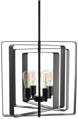 Linea Di Liara Sabaria 4-Light Industrial Pendant Light With LED Bulbs, Black