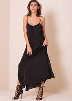 Missy Empire Nia Black Lace Up Back Split Detail Maxi Dress