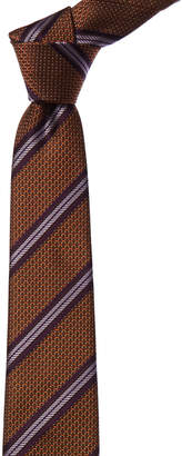 Canali Orange & Purple Stripe Silk Tie