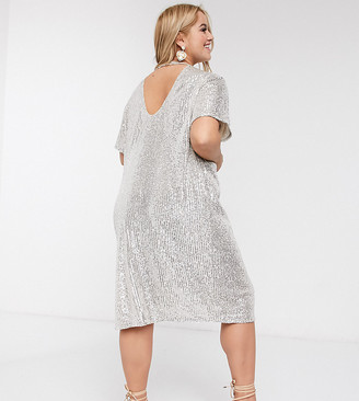 ASOS DESIGN Curve sequin midi dress with open back in silver