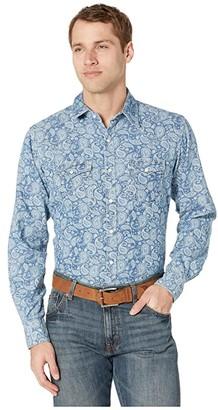 Wrangler Retro Premium Long Sleeve Print Snap (Denim) Men's Clothing