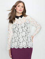 ELOQUII Plus Size Studio Contrast Collared Lace Blouse
