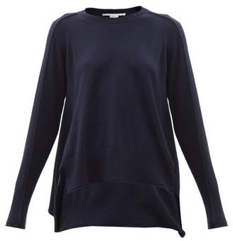 Stella McCartney Step-hem Regenerated Cashmere-blend Sweater - Navy