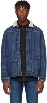 Levis Made and Crafted Blue Denim Type II Sherpa Trucker Jacket