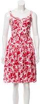 Oscar de la Renta Floral Print Sleeveless Dress