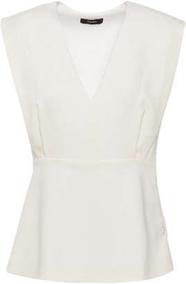 Theory Draped Crepe Peplum Top