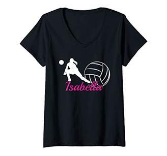 Isabella Collection Womens Name Gift Personalized Volleyball V-Neck T-Shirt