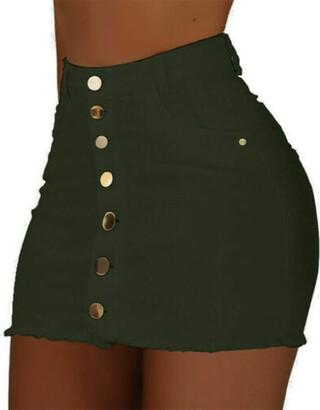 Springcmy Women Strench High Waist Denim Skirt Button Skirt A-line Short Mini Skirt Slim Fit Jeans Dress with Pockets (A Army Green S)
