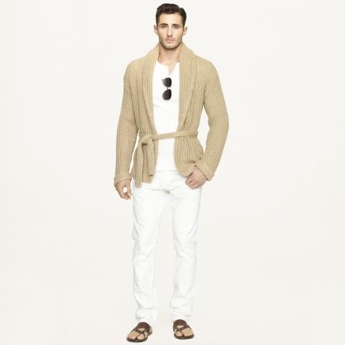 Ralph Lauren Black Label Denim Belted Shawl-Collar Cardigan