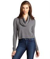 BCBGMAXAZRIA heather grey wool blend cropped cowl neck 'Samira' cashmere sweater