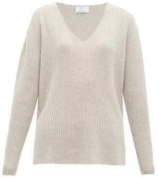 Allude Ribbed V-neck Cashmere Sweater - Womens - Light Grey