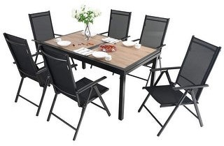 Overstock MFSTUDIO 7/9-Piece Patio Dining Furniture Set with 6/8 Sling Folding Chairs and 1 Expandable Outdoor Dining Rectangle Table