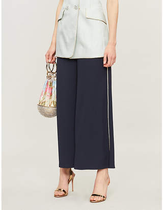 Peter Pilotto Rope-trimmed wide-leg crepe trousers